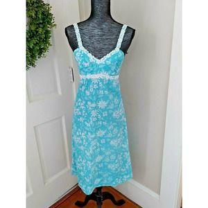 Vintage Lilly Pulitzer Dress Crochet Hawaiian Blue